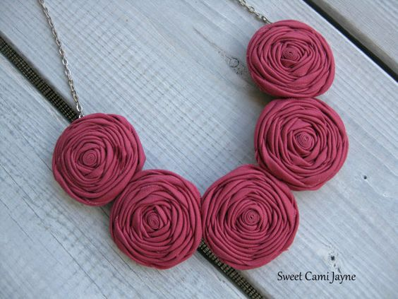 Deep Rose Rosette Necklace Fabric Necklace Pink Statement Necklace Wearable Art
