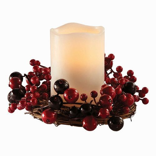 Holiday Cranberry Wreath and LED Pillar Candle Set