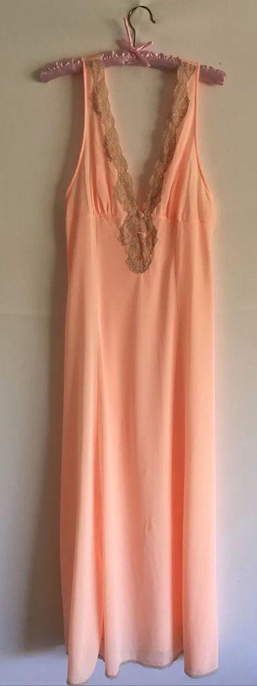 Val Mode Vintage Orange Sherbet Ecru Lace Lingerie Gown Sz M | eBay