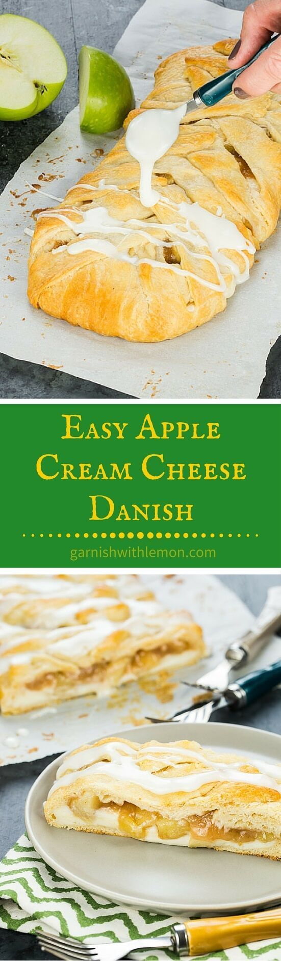 This Easy Apple Cream Cheese Danish is a tasty addition to any brunch! Filling can be prepped ahead of time and the dough is crescent rolls so it's simple to prepare. ~ http://www.garnishwithlemon.com