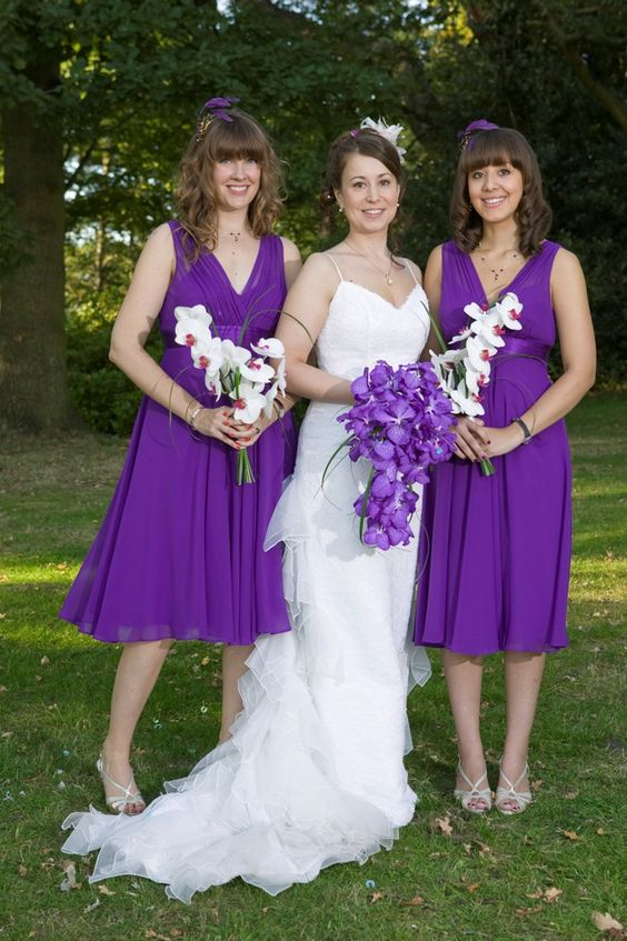 Purple Bridesmaid dress color and purple orchid bouquet ...