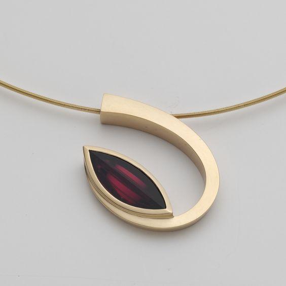 www.ORRO.co.uk - Angela Hubel - Gold & Garnet Laguna Navette Pendant Necklace - ORRO Contemporary Jewellery Glasgow