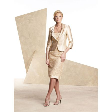 Stylish Two Piece Short Satin Mother of the Bride/ Groom Dresses with Sequin