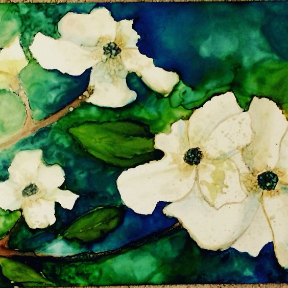 Alcohol ink painting done in flowers