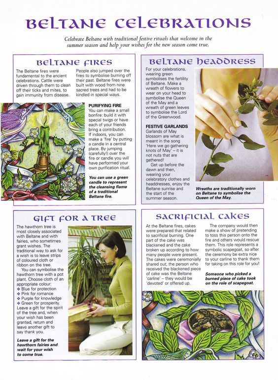 Beltane Celebrations: Cleansing fire, Gifts for a tree, headdresses, sacrificial cakes.