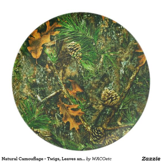 Natural Camouflage - Twigs, Leaves and Pinecones Dinner Plate