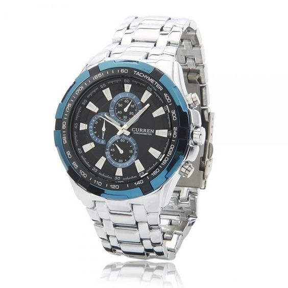 Needle Scale Water-resistant Alloy-steel Male Watch with Silver Case White