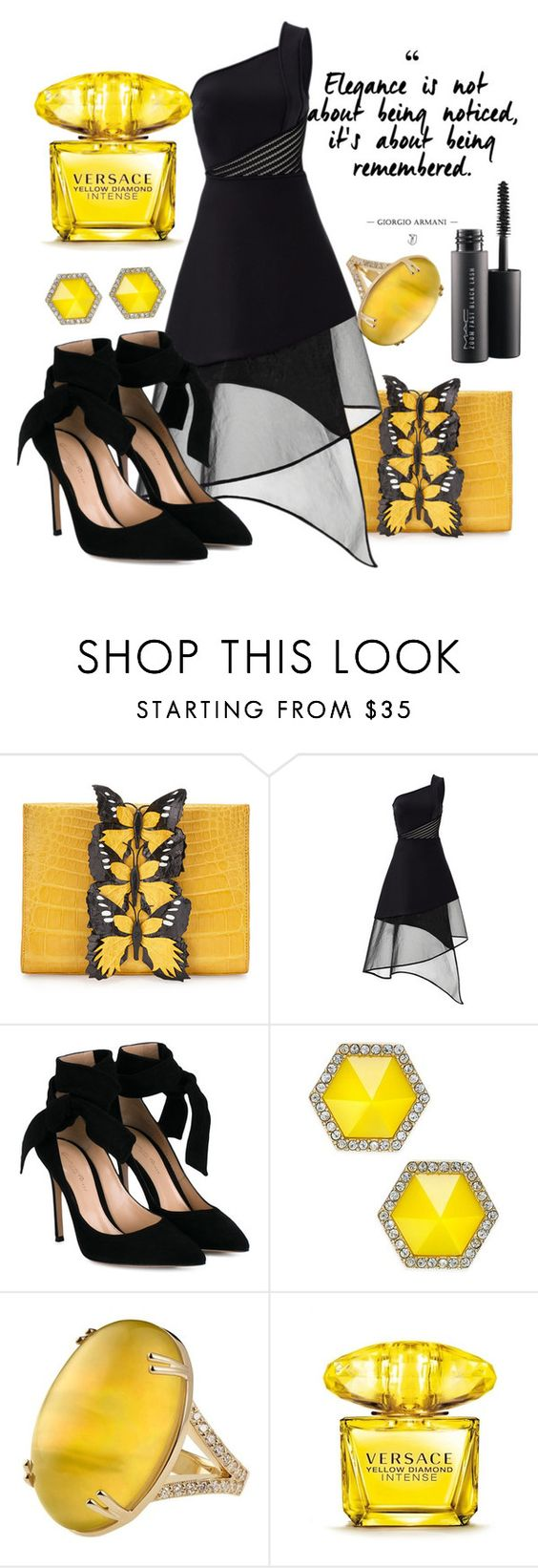 """Black and Yellow"" by faheemak ❤ liked on Polyvore featuring Nancy Gonzalez, David Koma, Gianvito Rossi, ABS by Allen Schwartz, Versace and MAC Cosmetics"