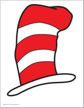 """Free Printable - Cat in the Hat """"Hat"""" in either color or black outline."""