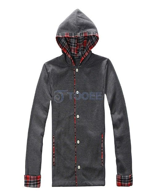 One-breasted Plaid Cap Black Casual Hoodie