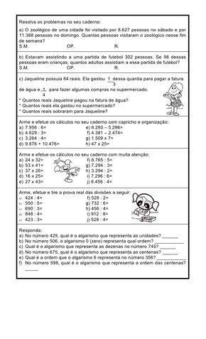 Atividades de Matemática 5 Ano para Imprimir