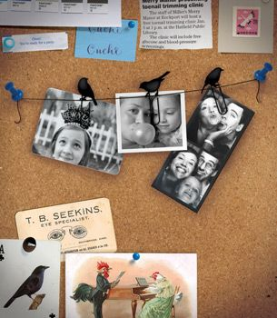 """Display photos, clippings and other keepsakes on this adorable """"Birds on a Wire"""" clip set."""