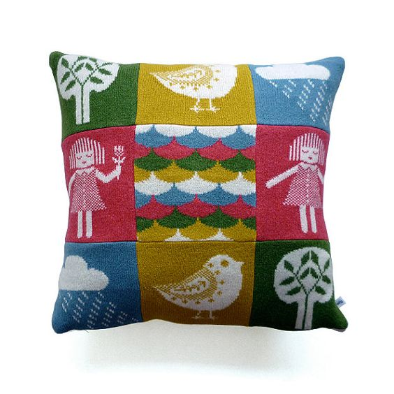Knitted Lambswool Patchwork Cushion by Sally Nencini