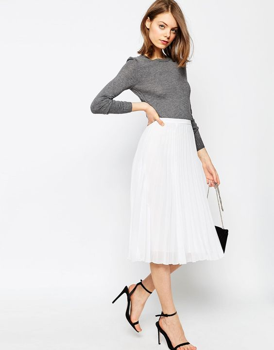 Falda blanca longuette plisada: