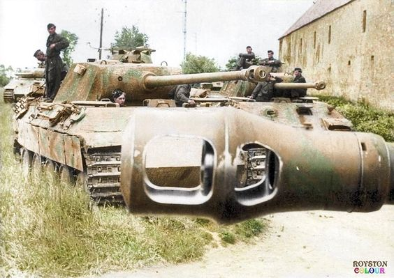 """This earlier posting shows a Group of 'Panthers' of 2 Kompanie I/Pz.Rgt.6 """"Gerda"""", """"Christel"""" and """"Ursula"""" in Normandy in June '44, it's very likely that """"Ingrid"""" - 215 is in this photo too. They were all destroyed in July by either US 9th Inf.Div, the M.10s of US 899th TDB or US Air Attacks..."""