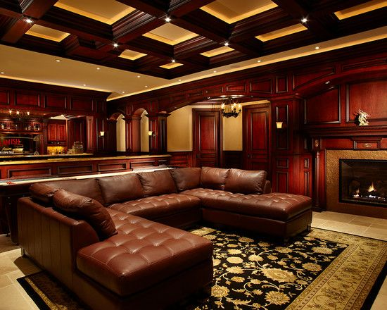 Marvellous Irish Pub Decorating Ideas With Vintage And Classic Touch:  Traditional Media Room Century Irish Pub Bar And Theater With Black Dark  Ceilu2026 Part 64