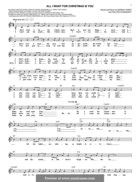 All I Want For Christmas Is You Instrumental Version By M Carey W Afanasieff On Musicaneo In 2020 Sheet Music Notes Christmas Piano Sheet Music Sheet Music