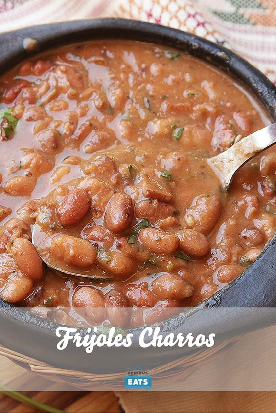 "The ideal potluck or cookout dish is one that is easy to make in bulk and inexpensive, and doesn't degrade with extended heating or reheating.I nominate frijoles charros—Mexican cowboy beans cooked with onions, garlic, tomatoes, salted pork, and chilies—as one superlative potluck dish. It not only hits all of those criteria but also adds on ""extremely delicious"" for good measure."