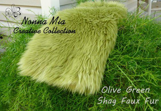 SALE 12 Dollars Reg 16 Plush Shag Faux Fur   Olive by NonnaMiaCC, $12.00