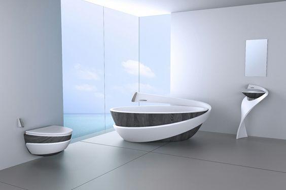 Luxus Badewannen - Geschwungene Formen und Oberfläche in grauer Holzoptik
