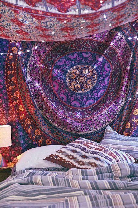 Multicolores Mandala Hippie indien Décoration murale Motif Bohemian Couvre-lit en coton Motif Mandala dortoir Couverture de plage