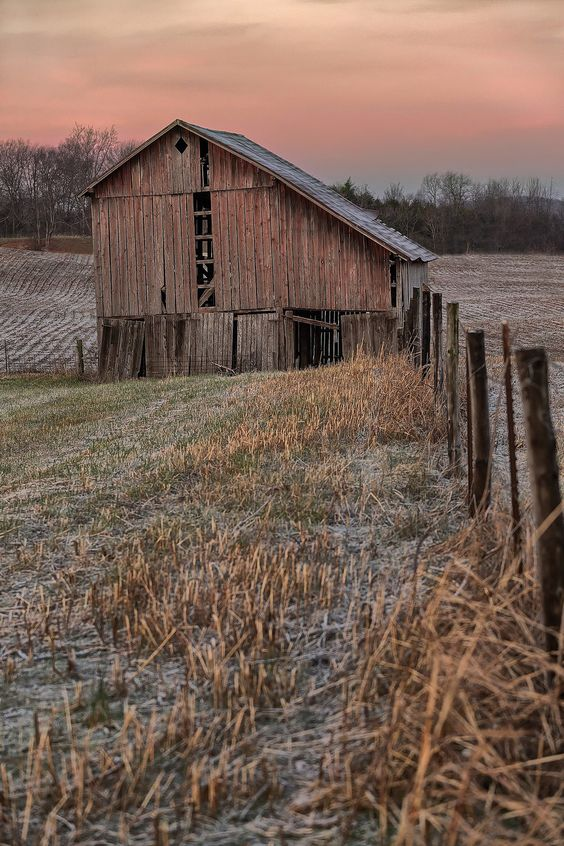 old barn in early morning light
