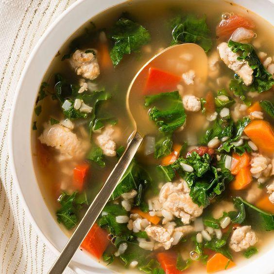 Turkey, Kale and Brown Rice Soup   Giada De Laurentiis