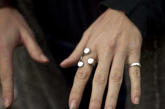 Silver rings.