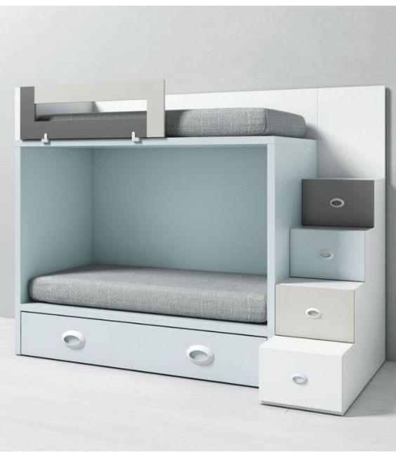 Litera infantil dado con cama nido y acceso lateral - Litera con cama nido ...