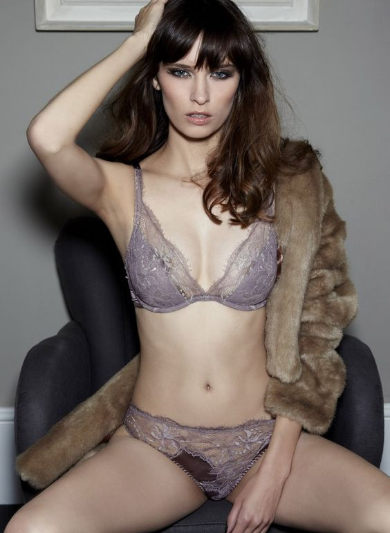 Truffle Lace Plunge Bra and Silk Brief