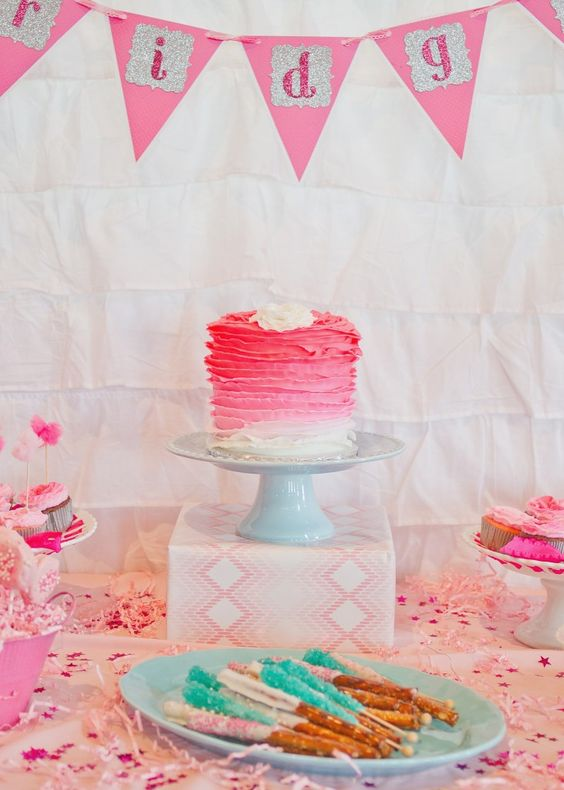 Pink #ombre cake - perfect for a girl's birthday or #valentinesparty