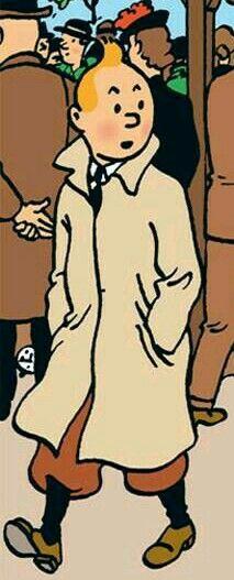 コート姿で振り返るタンタンの画像