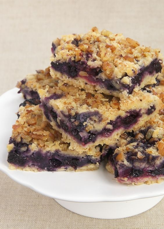 Berry Crumb Bars combine fresh berries with a soft crust and a nutty crumb topping. - Bake or Break
