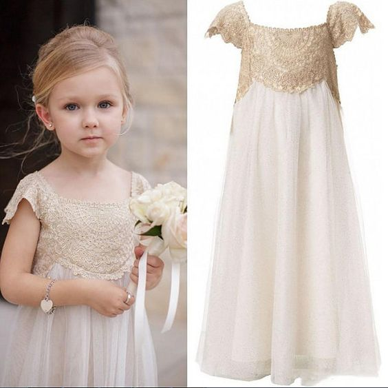 Loreth Boho Beach Ivory Flower Girl Dress with Lace applique, Cap Sleeves, Tea Lenght, Bohemian Flower Girl Dress, Beach Flower Girl Dress