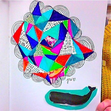 art work, design, print, ink, pen, mixed media, geometric shapes, ocean, whale, gift, holidays