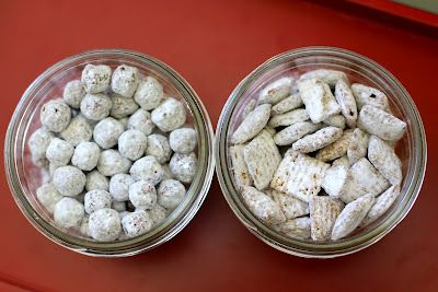 Puppy Chow & Kitty Chow.  Easy and fun!  Kids love the 2 different shapes.  #puppychow #snack