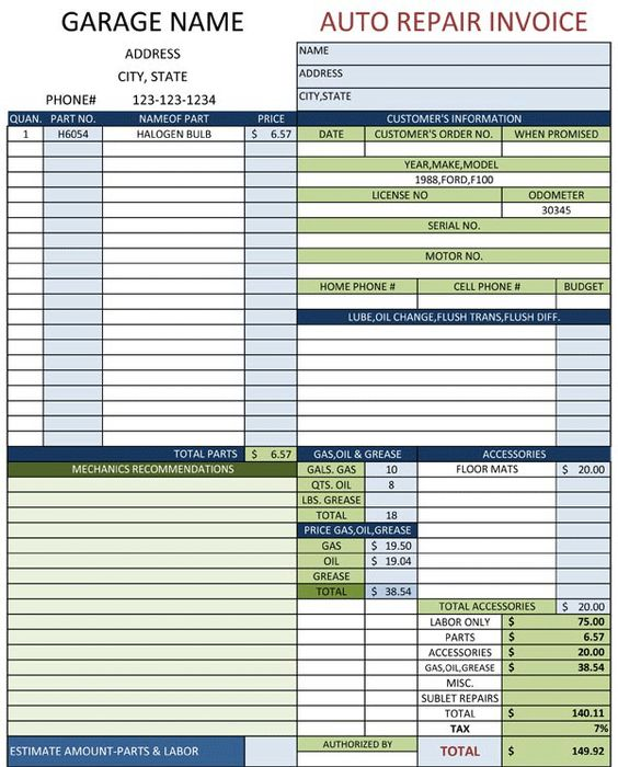Auto Repair Invoice Template Car Maintenance Tips Pinterest Cars - auto shop invoice template