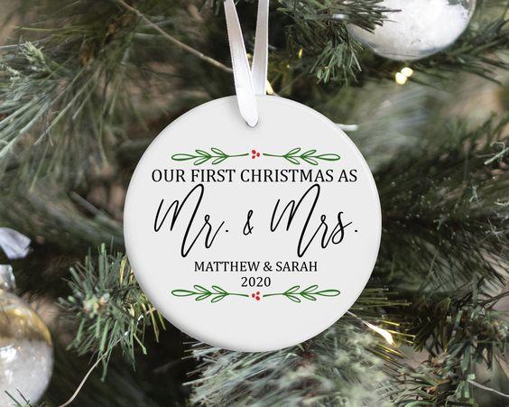 Covid wedding christmas ornament