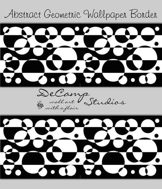 Black White Abstract Geometric wallpaper border wall decals for any home  decorating ideas Stripes  ABSTRACT. Wallpaper Border Ideas For Bedroom