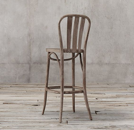 RH's Paris Bistro Stool:Michael Thonet revolutionized the design world with the introduction of a steam-bending technology known as bentwood that allowed him to create curved wooden furniture. This stool echoes the grace and simplicity of his timeless No. 14 Bistro Chair with its hooped back and gently flared legs.
