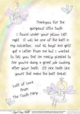 Letter from the tooth fairy on craftsuprint designed by for Fairy letters to child