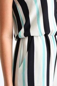 19 Cooper Strapless Striped Gaucho Jumpsuit in WHTM - detail view