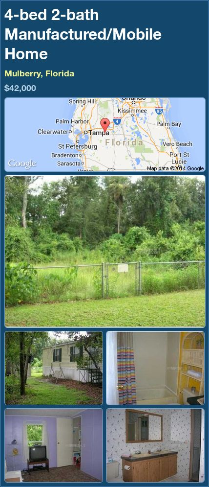 4-bed 2-bath Manufactured/Mobile Home in Mulberry, Florida ►$42,000.00 #PropertyForSale #RealEstate #Florida http://florida-magic.com/properties/89159-manufactured-mobile-home-for-sale-in-mulberry-florida-with-4-bedroom-2-bathroom