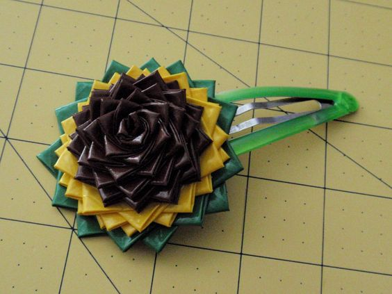 Flower Hair Clip Large Sun Flower Duck Tape Duct Tape Crafts