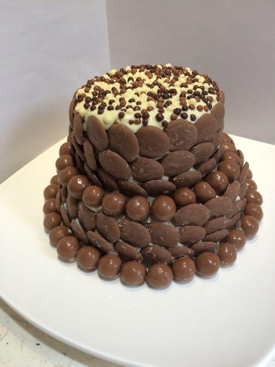 Simple Chocolate Decorated Birthday Cake