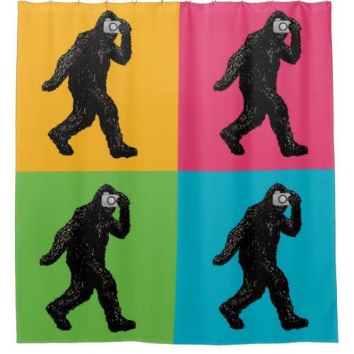 Bigfoot With Camera Pop Art Shower Curtain Zazzle Com Pop Art Art Custom Shower Curtains