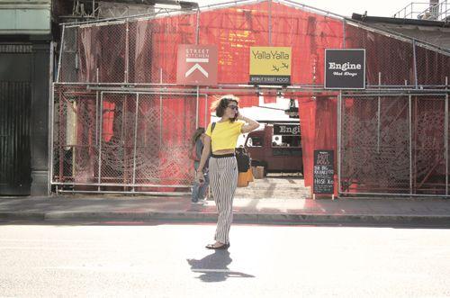 t shirt: River Island | striped trousers: H | bag: Zara | glasses: Bricklane Market