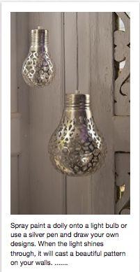 spray painted light bulbs