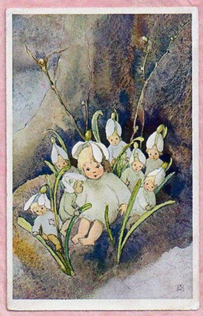 "A / S MILI WEBER ~ FANTASY ""SNEEUWKLOKJE"" bloemenkinderen 1927 CUTE Vintage briefkaart (2014/11/17)"