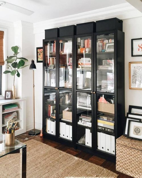 Ikea Billy Bookcase With Glass Doors For Living Room Decoration In